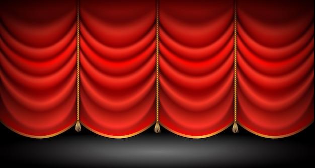 Tende rosse chiuse con corde d'oro e nappe, sfondo di stand up, opera o spettacolo teatrale. Vettore Premium