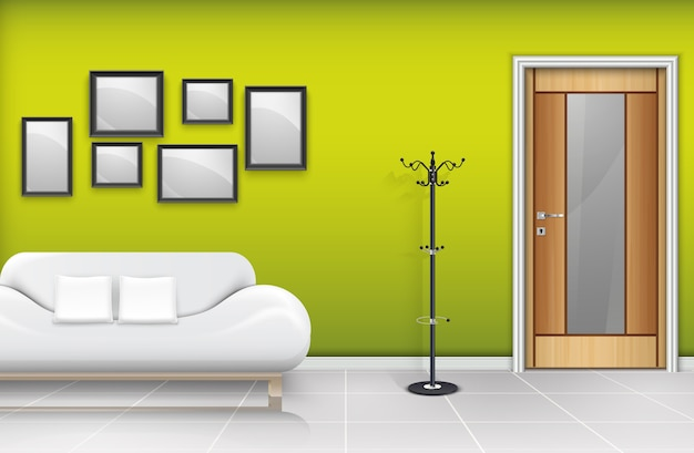 Porta in legno chiusa con divano e cuscini bianchi Vettore Premium