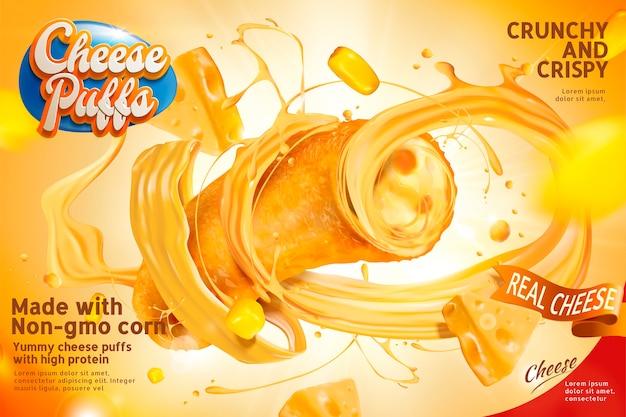 Primo piano della sezione di sbuffi di formaggio e ripieni che fuoriescono dal ricciolo, deliziosi snack pubblicitari Vettore Premium