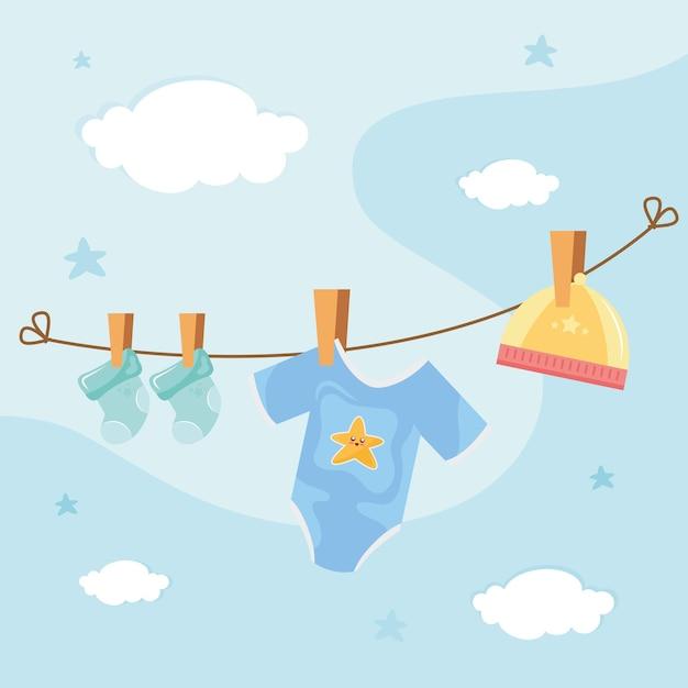 Vestiti del bambino appesi essiccazione icona illustrazione design Vettore Premium