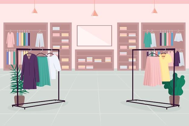 Colore piatto emporio di vestiti. grande magazzino. centro commerciale. boutique di stoffa. negozio di moda in 2d fumetto interno con mensole per vestiti, grucce, specchio sullo sfondo Vettore Premium