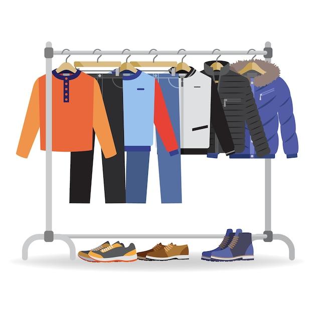 Appendiabiti con diversi vestiti casual da uomo, calzature. Vettore Premium