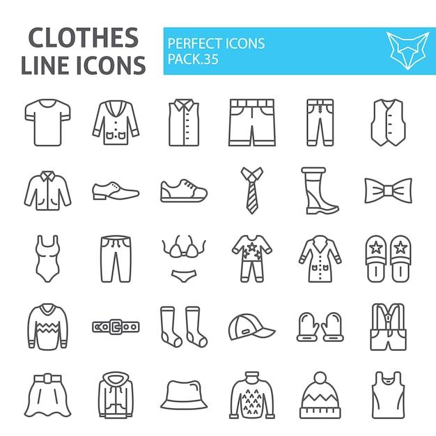 Insieme dell'icona di linea di vestiti, collezione di abbigliamento Vettore Premium