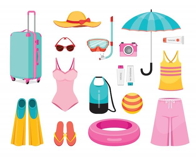 Vestiti e necessità per il viaggio di viaggio di stagione estiva Vettore Premium