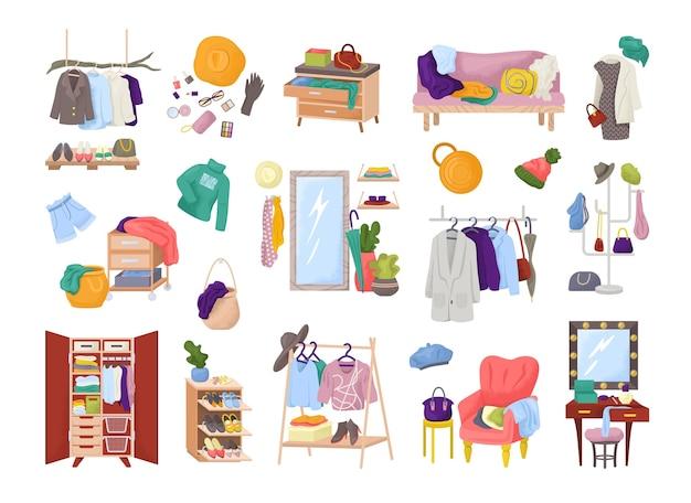 Vestiti nella stanza guardaroba, armadio di abiti di moda, set di isolati. mobili con abbigliamento moderno, camicie, accessori. disordine o ordine di vestiti per la casa. stoccaggio di abbigliamento tessile per la casa. Vettore Premium