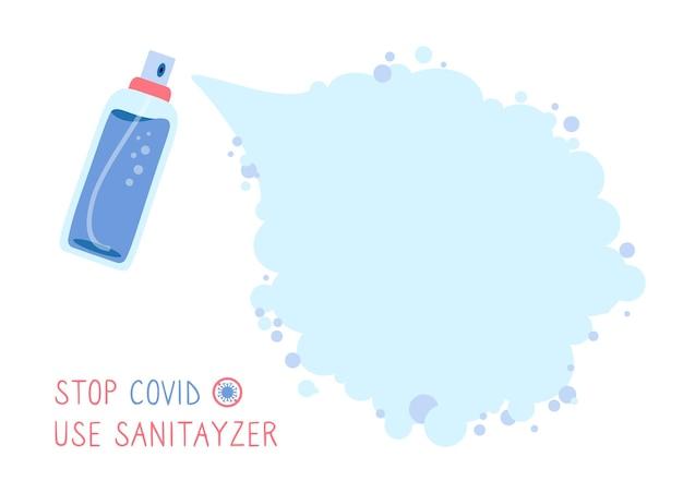 Sfondo nuvola per testo covid, spray antisettico per bottiglie fiaschetta antibatterica uccide i batteri o il virus concetto di disinfettante. spruzzatura con erogatore di disinfettante antibatterico Vettore Premium