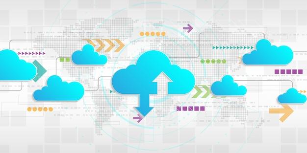 Interfaccia cloud che mostra il caricamento dei dati su internet. Vettore Premium