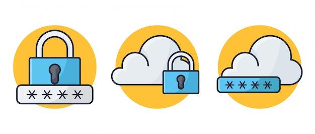 Cloud password security Vettore Premium