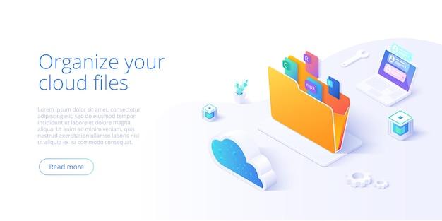 Cartella di archiviazione cloud isometrica. servizio di organizzazione file digitale o app con trasferimento dati. Vettore Premium