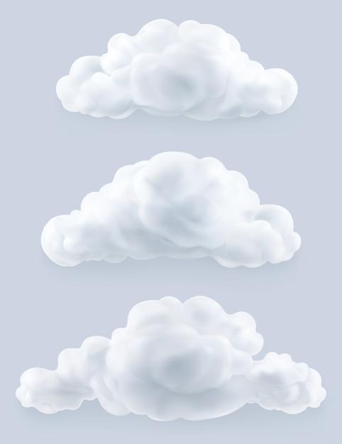 Nuvole, set Vettore Premium