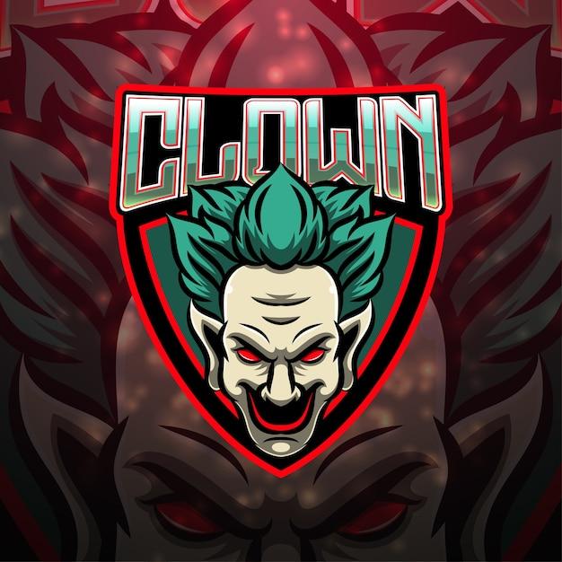 Clown esport mascotte logo design Vettore Premium