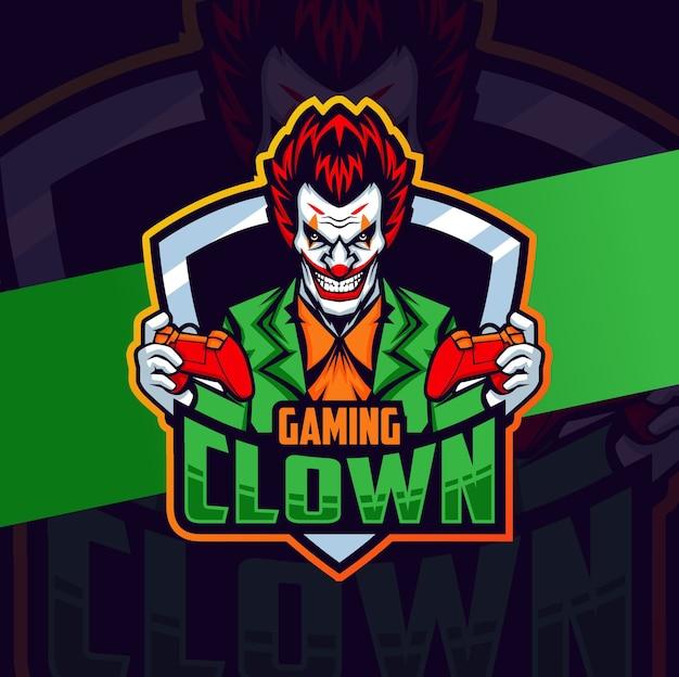 Personaggio di design di clown gamer mascotte esport lgoo Vettore Premium
