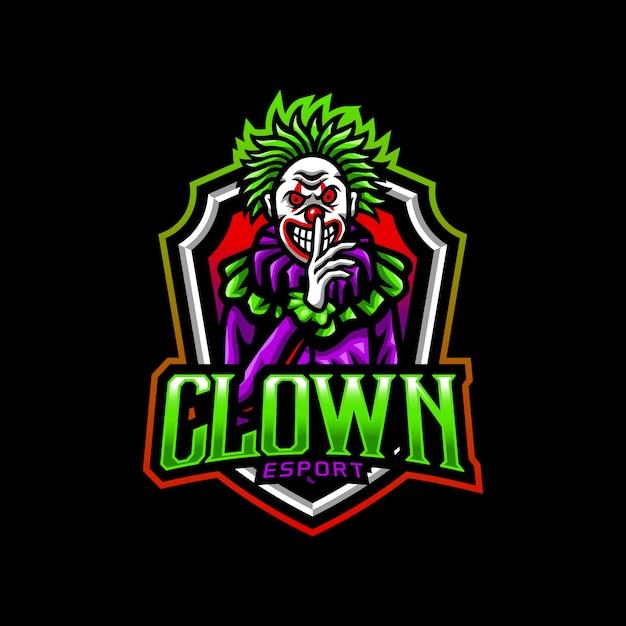 Clown mascotte logo esport gaming Vettore Premium