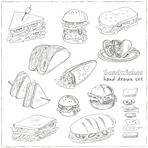 Club sandwich cheeseburger hamburger deli wrap roll taco baguette bagel toast Vettore Premium
