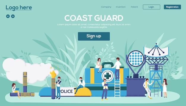 Pagina di destinazione della guardia costiera Vettore Premium