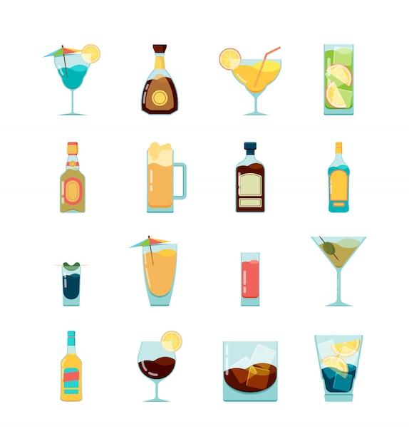 Icona alcolica cocktail. vodka martini e diverse bevande alcoliche estive foto piatte Vettore Premium