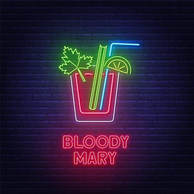 Insegna al neon di bloody mary del cocktail sulla priorità bassa del muro di mattoni. Vettore Premium