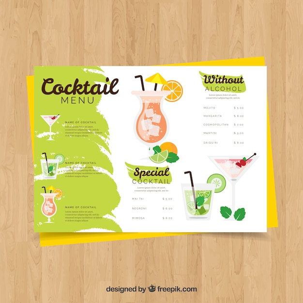 Modello di menu cocktail con design piatto Vettore Premium