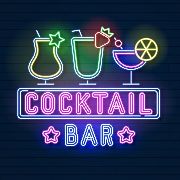 Insegna al neon cocktail Vettore Premium