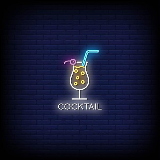 Insegne al neon del cocktail sulla parete scura Vettore Premium