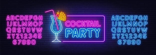 Insegna al neon del cocktail party sulla priorità bassa del muro di mattoni. alfabeti al neon blu e rosa. Vettore Premium