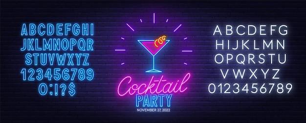 Insegna al neon del cocktail party sulla priorità bassa del muro di mattoni. Vettore Premium