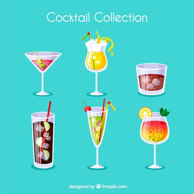 Collezione di cocktails con succhi diversi Vettore Premium