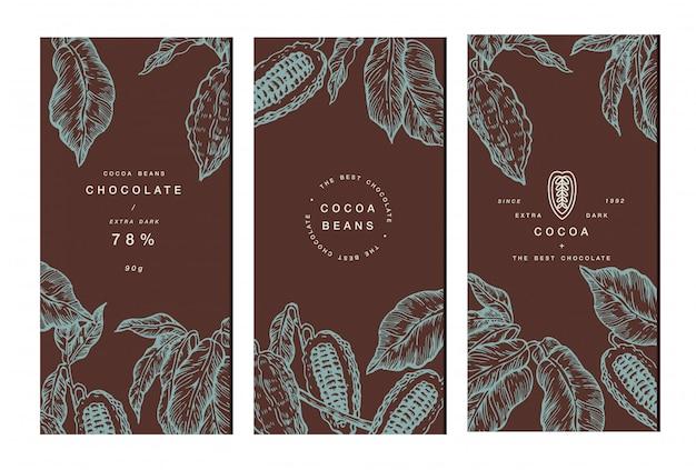 Collezione banner albero di fave di cacao. modelli. illustrazione stile inciso. fave di cacao al cioccolato. illustrazione Vettore Premium