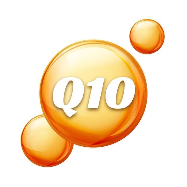 Coenzima q10. olio d'oro. capsula di pillola a goccia di trattamento. q10 cura della pelle benessere. Vettore Premium