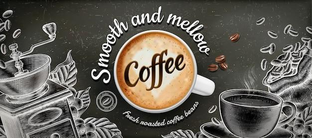 Annunci banner caffè con decorazioni in stile illustratin latte e xilografia su sfondo lavagna Vettore Premium
