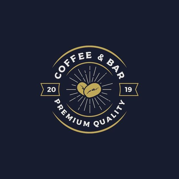 Illustrazione di vettore di progettazione di logo di caffè e bar Vettore Premium