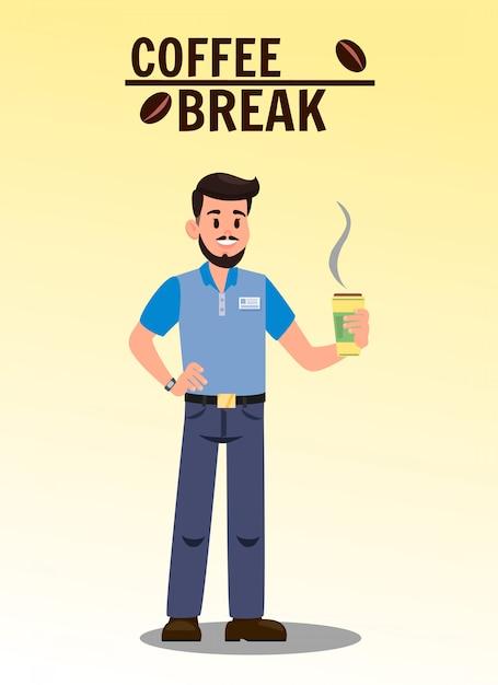 Illustrazione piana di vettore della pausa caffè con testo Vettore Premium