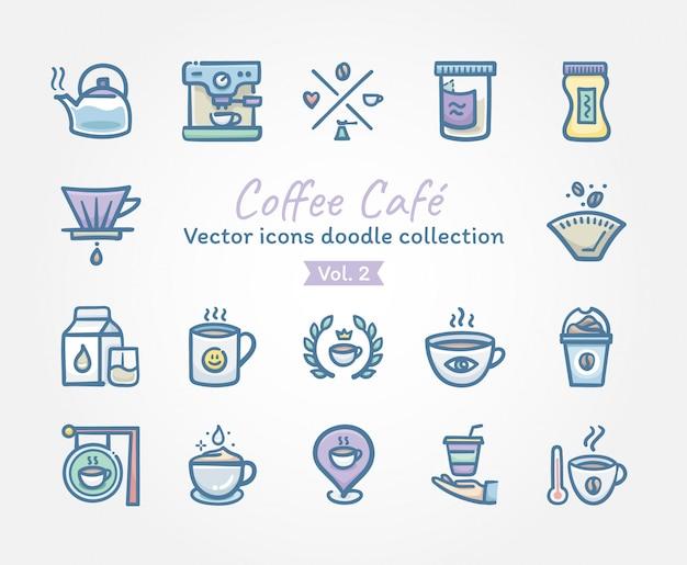 Raccolta di doodle delle icone di vettore di caffè café Vettore Premium