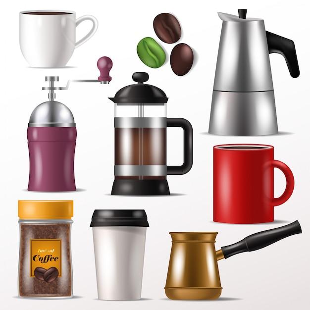 Tazza di caffè tazza di vettore per caffè espresso caldo e bevande con caffeina in coffeeshop illustrazione set di macinacaffè per fagioli o stampa francese isolato Vettore Premium