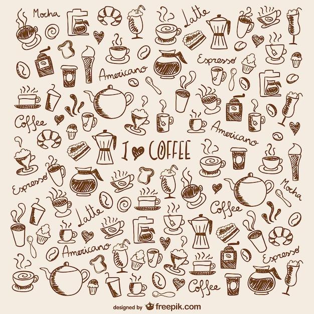 Doodles caffè Vettore Premium
