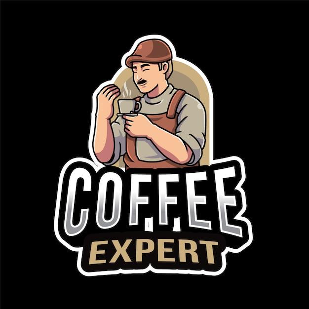 Modello logo esperto di caffè Vettore Premium