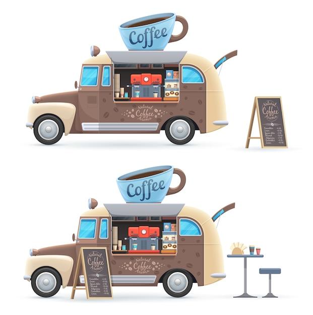 Furgone retrò di vettore isolato camion cibo caffè con tazza enorme sul tetto, macchina per il caffè, menu lavagna e tavolo con sedia Vettore Premium
