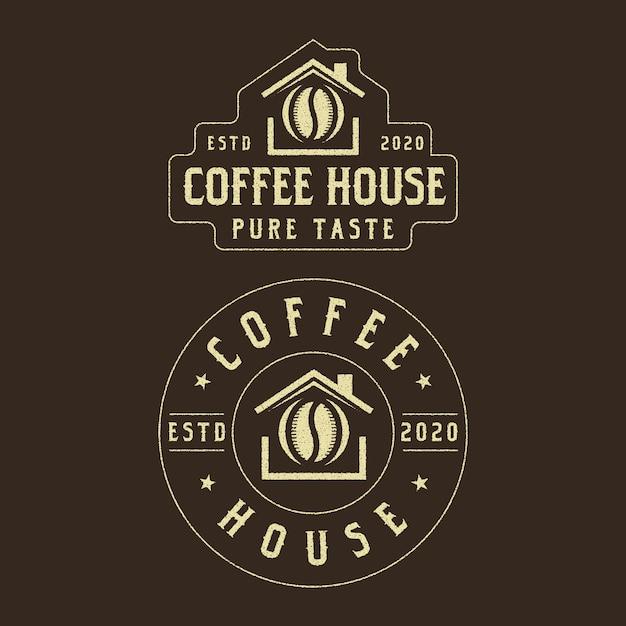 Design del logo vintage di caffè Vettore Premium
