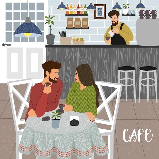 Caffetteria con uomo e donna e barista Vettore Premium