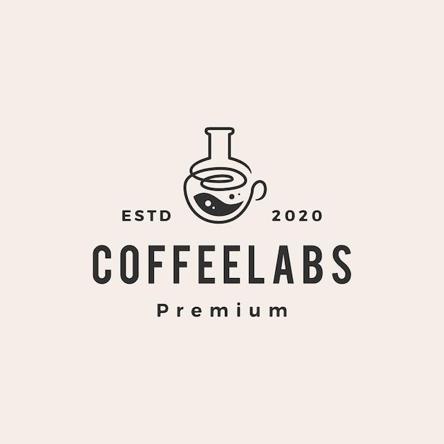 Illustrazione dell'icona di logo vintage hipster di laboratorio di caffè Vettore Premium