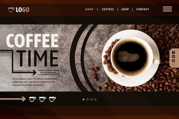 Modello di pagina di destinazione del caffè Vettore Premium