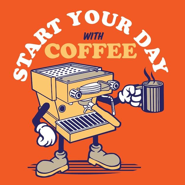 Mascotte della macchina del caffè Vettore Premium