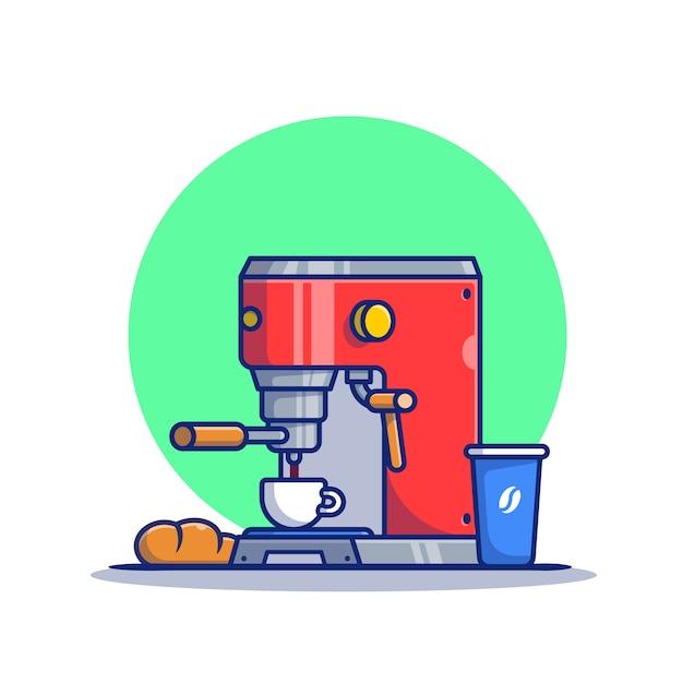 Illustrazione dell'icona del fumetto della tazza, del pane, della tazza e della macchina del caffè macchina da caffè icona concetto premium. stile cartone animato Vettore Premium
