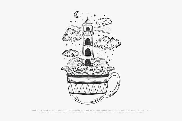 Illustrazione di caffè monoline Vettore Premium