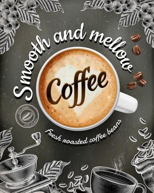 Annunci di poster di caffè con decorazioni in stile illustratin latte e xilografia su sfondo lavagna Vettore Premium