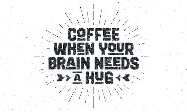 Illustrazione di citazione del caffè Vettore Premium