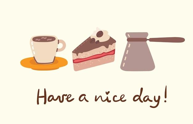 Illustrazioni di set da caffè. le persone trascorrono il loro tempo in caffetteria, bevendo cappuccino, latte, caffè espresso e mangiando dolci in stile piatto Vettore Premium