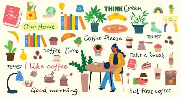 Illustrazioni di set da caffè. le persone trascorrono il loro tempo in mensa, bevendo cappuccino Vettore Premium