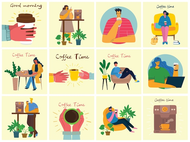 Illustrazioni di set da caffè. Vettore Premium