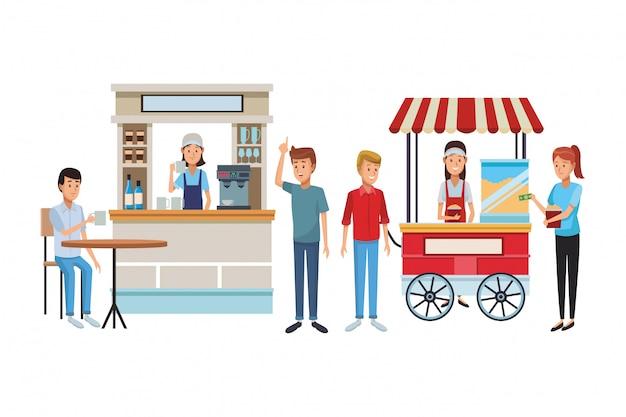 Cartone animato caffetteria Vettore Premium